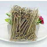 TOSSPER 100 pc/Insieme 12 Centimetri monouso di bambù Forcella Torta Partito Buffet di Frutta Dolci e Cocktail Sandwich Forcella Stick Pick Spiedo