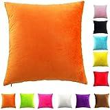 Easondea Fundas de Cojín de color sólido Square Decorativos para Sofá Cama Coche Fundas Cojines Funda de Almohada Naranja 40X40CM