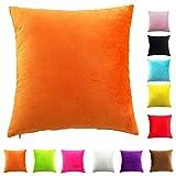 Easondea Fundas de Cojín de Color sólido Square Decorativos para Sofá Cama Coche Fundas Cojines Funda de Almohada Naranja 60X60CM