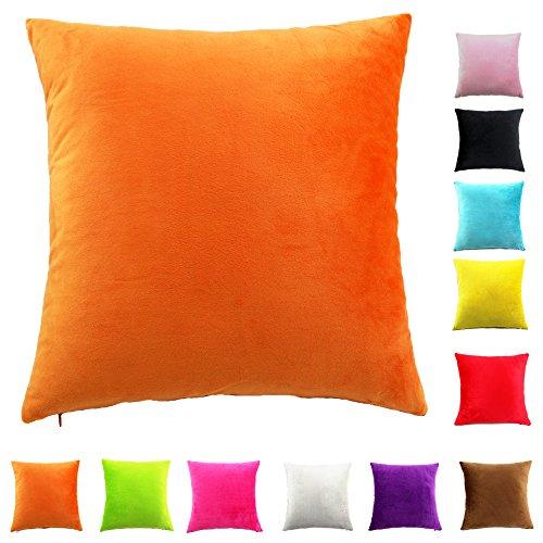 Easondea Kissenbezüge Sofa Home Car Dekoration Solide Luxus mit Reißverschluss Kissenbezug Orange 70X70CM (Reißverschluss Kissenbezug Satin)