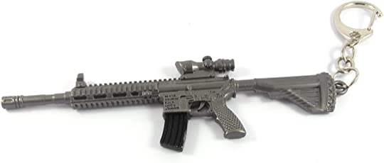 Generic PUBG Game Battleground M416 Metal Keychain (Grey)