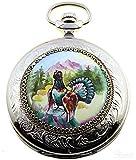 Molnija russische Taschenuhr mechanisch Handbemalt 3603, Motiv: Auerhahn