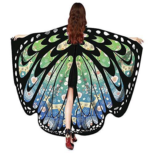 Burlesque Fan Dance Kostüm - Lazzboy Kostüm-Zusatz Frauen-Weihnachtsschmetter lings flügel-Schal-Schal-Poncho(M,Grün)