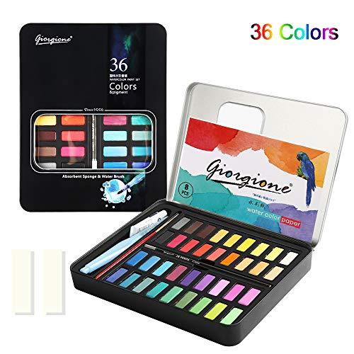 Aquarellfarbkasten, Aquarellfarben Set einschließlich 36 Wasserfarben +1 Aquarellpinsel + 1 Wassertankpinsel + 8 Aquarellpapier + 1 Bleistift + 2 Wasser absorbierender Schwamm +1 Weiße Aquarellfarbe