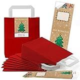 25 rote weihnachtliche Papiertüten Geschenktasche Henkel mit Boden 18 x 8 x 22 cm + 25 Aufkleber FROHE WEIHNACHTEN ALLES GUTE FÜRS NEUE JAHR bunt beige grün Geschenk Verpackung Be-Füllen