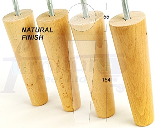 4 x NATURAL FINISH WOODEN FEET REPLACEMENT FURNITURE LEGS 154mm HEIGHT FOR SOFAS, CHAIRS, STOOLS M8 (8mm FITTING) by Knightsbrandnu2u Ashley Furniture Bücherregal