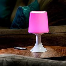 Auraglow Lámpara de Escritorio/ Mesa de Noche con Luz LED Multicolor Inalámbrica con Baterías / Recargable via USB