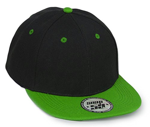 Two Tone Fitted Cap (New Unisex Jungen Mädchen Mütze TWO TONE SNAPBACK Baseball Cap Hut Kinder Kappe MFAZ Morefaz Ltd (Green))