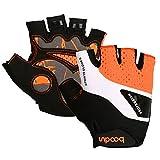 Gants de Vélo de Montagne Unisexe Gant demi doigt Respiration Gant Vtt Anti-dérapant et Lycra avec Pad épaissie (Orange, L)