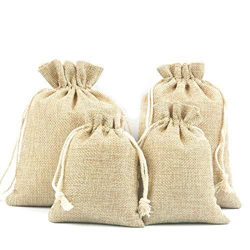 Jzk 40 grande & piccoli sacchetti coulisse iuta sacchettini portaconfetti bomboniere portariso per matrimonio compleanno battesimo comunione nascita natale