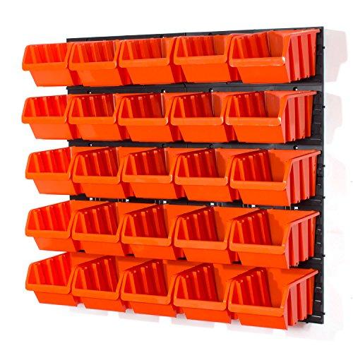 29 tlg Wandregal Lagerregal Stapelbox Gr.4 orange Regal Werkstatt Set Garage