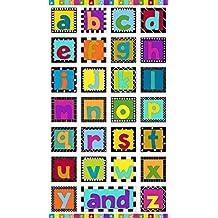 Bright Rainbow Color Blanco, ABC telas–ABC–Panel–mak574–Panel es 60cm x 110cm–cada cuadrado 12,5cm x 12,5cm–por Makower–100% algodón