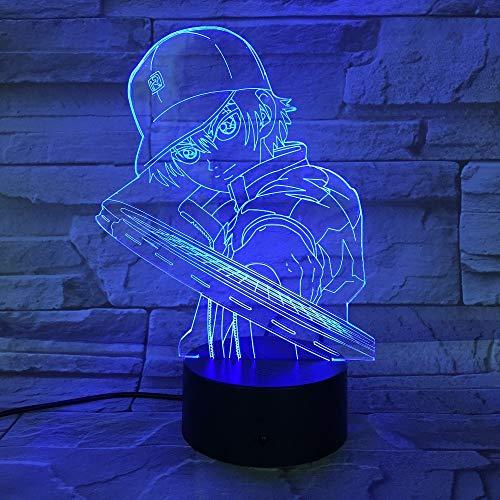 Tennis-küken (WangZJ 3d Led Lampe / 7 / für Kind Kinder Weihnachtsgeschenk/visuelle Led-leuchten/schlafen Nachtlicht/Wohnkultur Licht Tennis Prince)