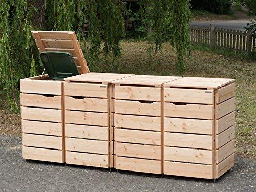 4er Mülltonnenbox / Mülltonnenverkleidung 240 L Holz, Douglasie Natur - 2