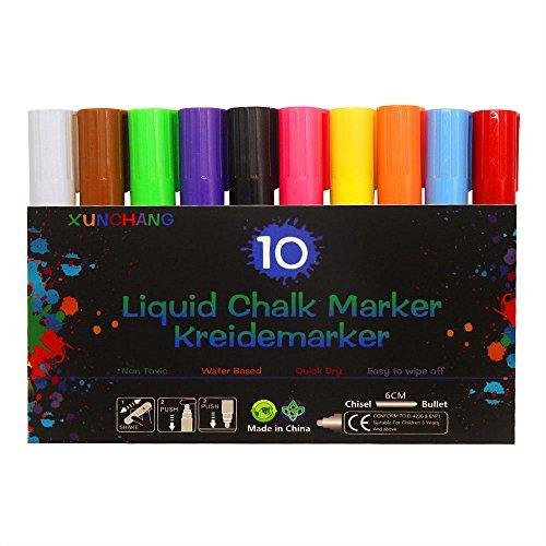 ück Marker Pens - Reversible Stiftspitze 6mm - Wasserbasierende - Auswischbare - Für Whiteboard, Kreidetafel, Fenster, Tafel, Bistros - für Kartenherstellung DIY Fotoalbum (Kreide-brett-menü)