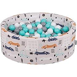 KiddyMoon Piscine À Balles 90X30cm/200 Balles ∅ 7Cm pour Bébé Rond Fabriqué en UE, Voitures-Beige: Blanc-Gris-Turquoise Clair