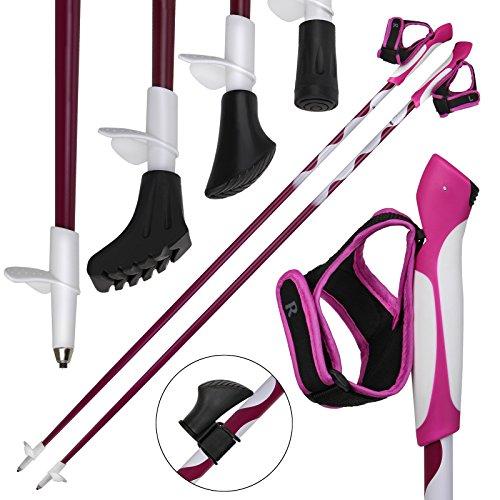 ALPIDEX Nordic Walking Stöcke LIPSTIX Fixlängenstock aus Carbon in verschiedenen Längen sehr leicht inkl. Gummipuffer und Padhalter ausklickbare Handschlaufen, Länge:110 cm, Farbe:Pink-Weiß