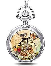 Infinite U Petit Email Oiseaux/Papillon avec Grand Vélo Montre de Poche Quartz avec Miroir