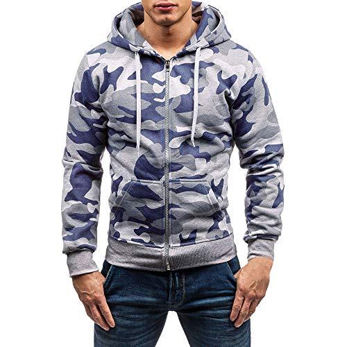 OSYARD Herren Slim Camouflage Full-Zip Kapuzenpullover, Herbst Casual Reißverschluss Militär Camouflage Patchwork Langarm Hoodie Top Bluse Kapuze Sweatshirt (XL, Grau)