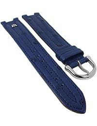 Maurice Lacroix für Calypso/Scala | Ersatzband Uhrenarmband Straußenleder blau matt 30034, Stegbreite:14mm, Schließe:Silbern