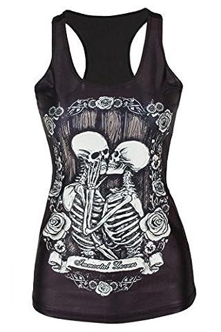 Aivtalk - Mode Fashion Femme Fille Débardeur Noir Vest Tops Gilet Loisir Casual T-Shirt sans Manches Extensible Noir 3D Imprimé Punk Gothique pour Eté Automne - Squelette