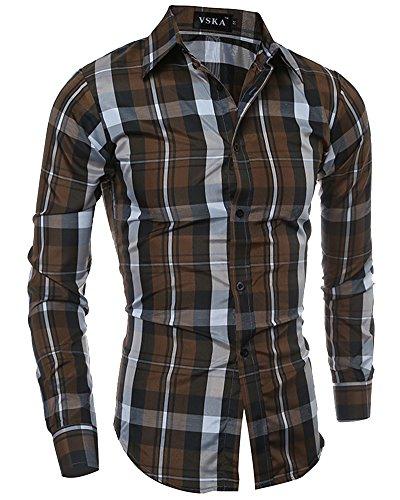 Camicia Casual Uomo Slim Fit Maniche Lunghe Business Checked Shirt, 5093 Caffè, L(Busto 104CM)