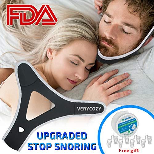 Schnarchen Lösung Stop Schnarchen Kinnriemen mit 4 Set Nasendilatatoren für Abhilfe bei Verstopfter Nase