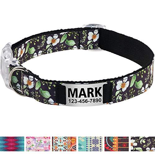 Vcalabashor Personalisiertes Hundehalsband mit Hundename und Telefonnummer/Strapazierfähiger Stoff mit Mode-Muster und Metallschnallen/Für große und extra große Hunde/Schwarze Blume -