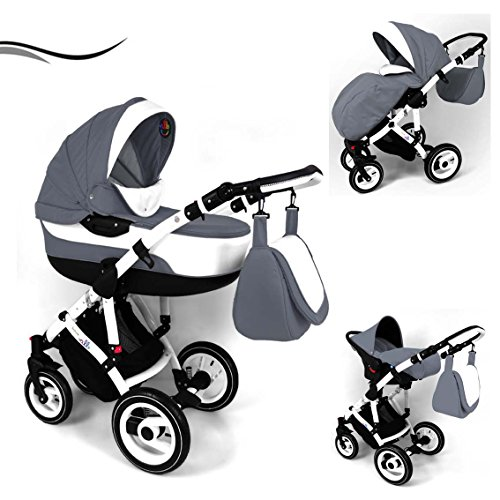 "16 teiliges Qualitäts-Kinderwagenset 3 in 1 Maked ""ELLO"": Kinderwagen + Buggy + Autokindersitz + Schwenkräder - Mega-Ausstattung - all inclusive Paket in Farbe (E-01) GRAU-WEISS"
