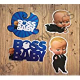 Balloonistics Boss Baby Cardstock Cardboard Cut-Out for Theme Birthday Decoration - Pack of 4