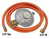 """'Tubo per Gas riduttore di pressione Regolatore di pressione di esercizio tubo del gas 50mbar Set Lunghezza: 200cm passaggio 1/2"""" R X 1/4lks"""