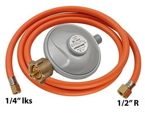 """Gasschlauch Druckminderer Betriebsdruck 50mbar Gasschlauch-Regler Set Länge :200cm Übergang 1/2"""" R x 1/4""""lks"""