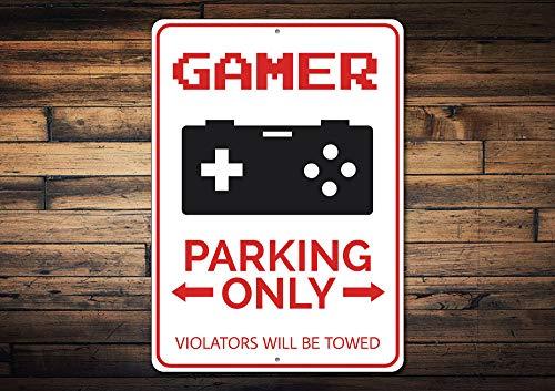 Dozili Gamer Parkschild Gamer Schild Geschenk für Gamer Video Game Liebhaber Geschenk Arcade Decor Videospiel Metall Decor Qualität Aluminium 20,3 x 30,5 cm