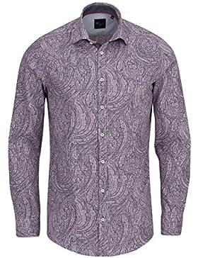 VENTI Slim Fit Hemd extra langer Arm mit Besatz Muster schwarz AL 69