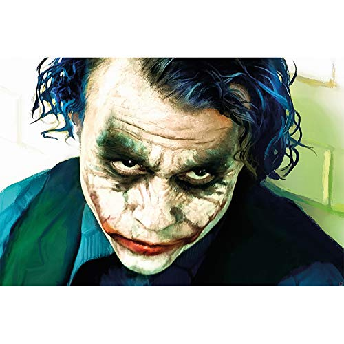 - Joker - Wandbild Dekoration Heath Ledger Batman The Dark Knight Clowns Film Gotham Bösewicht DC Comic DC Universe - Wandposter Fotoposter Wanddeko Bild Wandgestaltung Motiv (140 x 100 cm) ()
