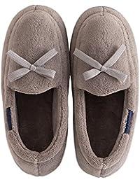 5bfc89283fa8d YMFIE Señoras Invierno Zapatillas de algodón Home Piso Piso Suave Skid  Prueba térmica de Terciopelo Zapatillas
