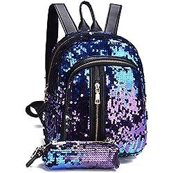 OHQ Bolso De Mochila Moda Chica Lentejuelas Mochila Escolar Mochila Bolsa De Viaje + Cartera De Embrague Casual Billeteras Moda (Azul)