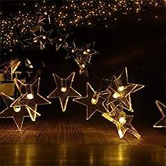 Idea Regalo - 8modi 30er LED stelle catena di luci a batteria Stella luce con telecomando Funzione Timer per Party, giardino, Natale, Halloween, matrimonio, illuminazione decorativa, Bianco caldo