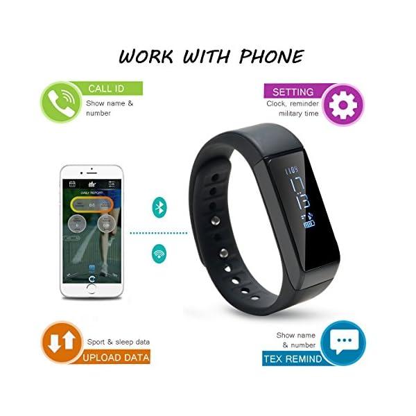 AGPTEK V07 Fitness Tracker Presión Arterial Ritmo Cardíaco Actividad Monitor Bluetooth 4.0 Pantalla OLED Pulsera… 6