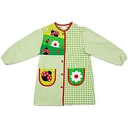 Dyneke Bata escolar botón verde Mariquitas (Talla 5)