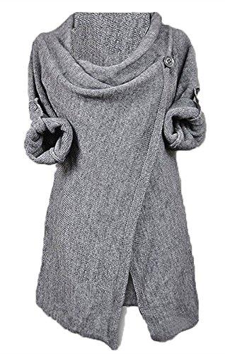 Aidonger Damen Asymmetrisch Langärmelig Strickjacke Mantel Lose, Weitere Farbe und Größe