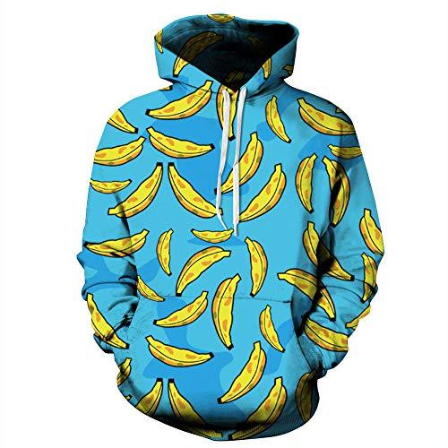MYZSDFA 3D Druck Hoodie,Persönlichkeit Blauen Banane Druckt Herbst Winter Casual Langarm Hooded Pullover Oversized Neuheit Hoodies Sweatshirts Für Männer Frauen Paare Kostüm, L XL