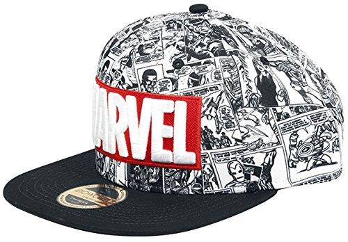 Marvel Unisex Baseball Cap Comics Logo and Comic Pattern Snapback Grey, One Size