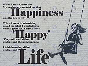 HAPPINESS HAPPY BANKSY GIRL SWINGING QUOTE TYPOGRAPHY POSTER PRINT QU061