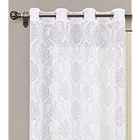 Cortina translucida con 8 ollao de 140x260 para salón, habitación y dormitorio. Modelo Burnout Orinoco (Blanco)