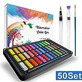 RATEL Peinture Aquarelle, Boîte de Peintures, Comprenant 36 Couleurs de Pigment Solide + 2 stylos à Ligne de Crochet + 2 pinceaux de réservoir d'eau + 10 papiers Aquarelle-Eau,Boîte de Peintures...