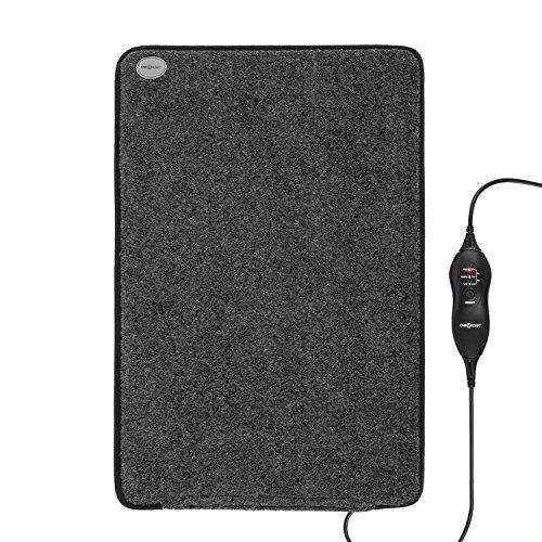 OneConcept Magic-Carpet DX - Heizmatte, Heizteppich, elektrisch, 100 Watt, 3 Heizstufen, Timer Funktion, 60 x 40 cm, geringer Stromverbrauch, strapazierfähig, Bezug waschbar, grau