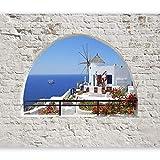 murando - Fototapete selbstklebend 98x70 cm decor Tapeten Wandtapete klebend Klebefolie Dekofolie Tapetenfolie - Natur Landschaft Santorini Ziegel c-A-0098-a-b