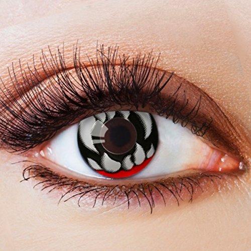 Farbige Kontaktlinsen Schwarz Ohne Stärke mit Motiv Schwarze Fun Linsen für Halloween Karneval Party Fasching Cosplay Kostüm Dämon Devil Eye