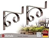 BLUMENKASTENHALTERUNG Nobile 1 Paar in Schwarz von 4smile – Made in Germany ǀ Blumenkasten-Halter zur Wandbefestigung ǀ Halter für Balkon-Kasten bis 15cm Breite - nicht verstellbar ǀ rostfrei